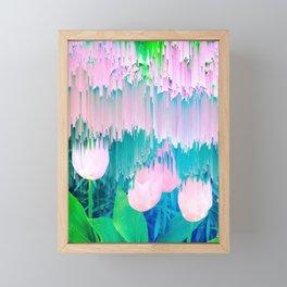 No Rain, No Flowers - tulip Glitch #homedecor #buyart Framed Mini Art Print