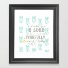 Fearfully & Wonderfully Made [gray & aqua] Framed Art Print