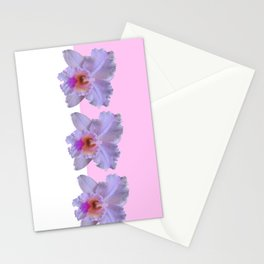 TROPICAL PURPLE CATTLEYA ORCHIDS WHITE-PINK ART Stationery Cards