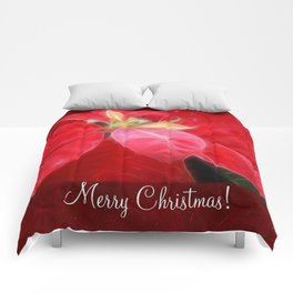 Mottled Red Poinsettia 2 Merry Christmas P5F1 Comforters