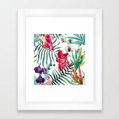 Tropical Watercolor Floral Framed Art Print