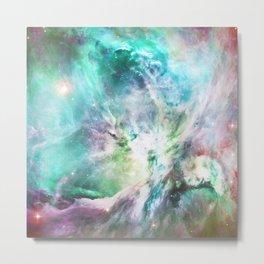 Abstract teal pink cosmic nebula space galaxy Metal Print