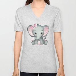 Cute Baby Elephant Unisex V-Neck