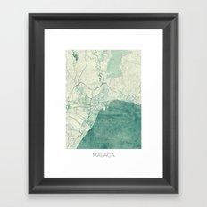 Malaga Map Blue Vintage Framed Art Print