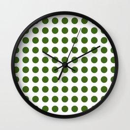 Simply Polka Dots in Jungle Green Wall Clock