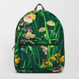 Green Floral Meadow Wallpaper Backpack