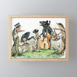 """ Bluegrass Gang "" wild animal music band Framed Mini Art Print"