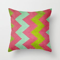 Cocktails with Lilly - Pink, Aqua, Green Chevron Throw Pillow