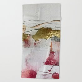 Untranslated Stars: a minimal, abstract piece in gold, pink, and white by Alyssa Hamilton Art Beach Towel