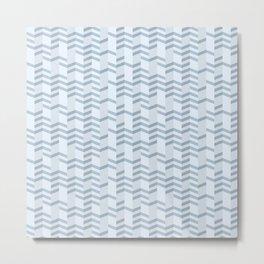 Blue Chevron Cuts Metal Print