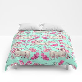 Unicorns and Roses on Mint Comforters