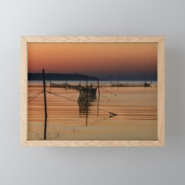 Fishing Nets in The Water Framed Mini Art Print