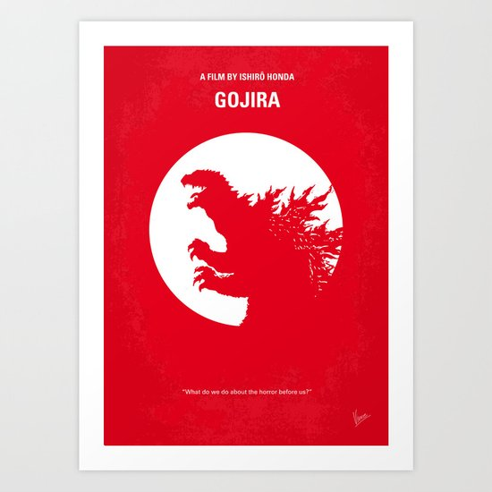 No029-1 My Godzilla 1954 minimal movie poster Art Print