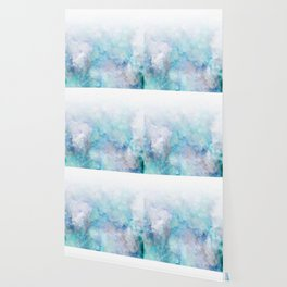 Fresh Blue and Aqua Ombre Frozen Marble Wallpaper