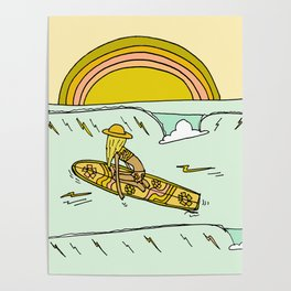 paddle on to new adventures // new year by surfy birdy Poster