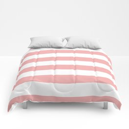 Large Blush Pink and White Cabana Tent Stripes Comforters