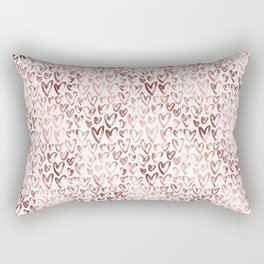 Rose Gold Hearts Pattern on White Rectangular Pillow