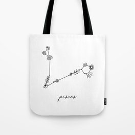 Pisces Floral Zodiac Constellation Tote Bag