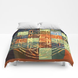 Flower Of Life Modern Squares Mosaic Comforters