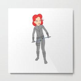 Little Red Black Widow Metal Print