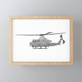 American Grey Attack Helicopter Framed Mini Art Print
