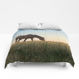 Grazing at Sunset Comforters