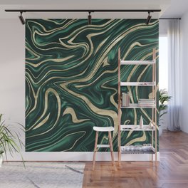 Emerald Green Black Gold Marble #1 #decor #art #society6 Wall Mural