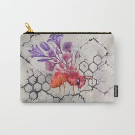 Save the Bees, Bee on Concrete | Watercolor Painting on Paper Carry-All Pouch