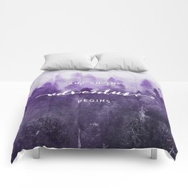 Ultra Violet Forest - And So The Adventure Begins Nature Photography Typography Comforters