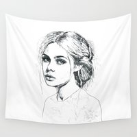 fashion illustration Wall Tapestries featuring Fashion Illustration by Kasi Turpin