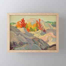 Canadian Landscape Oil Painting Franklin Carmichael Art Nouveau Post- Foliage against Grey Rock 1920 Framed Mini Art Print