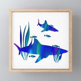 Sharks swimming with fish Framed Mini Art Print