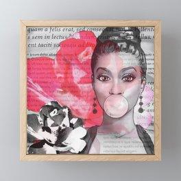 Retro Pinup Girl Flowers & Magazine Paper Framed Mini Art Print