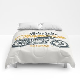Classic Motorcycle Club Illustration Comforters