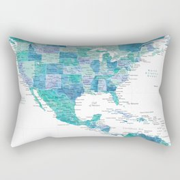 Map of the USA Mexico and the Caribbean Sea in watercolor Rectangular Pillow