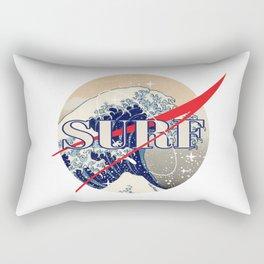 Surf The Great Wave Off Kanagawa - Nasa Logo Inspiration Rectangular Pillow