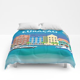 Curacao - Skyline Illustration by Loose Petals Comforters