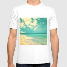 Retro beach and turquoise sky (square) Mens Fitted Tee White MEDIUM