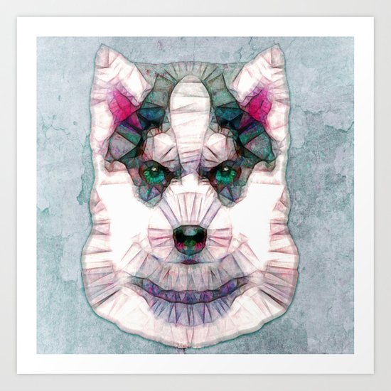 abstract husky puppy Art Print