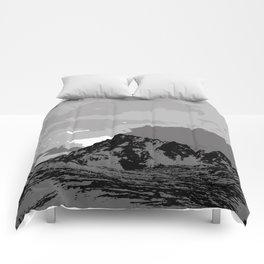 Chugach Mountains - B & W Pop Art Comforters