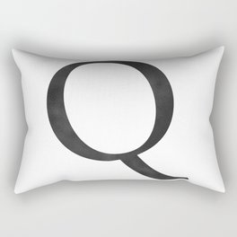 Letter Q Initial Monogram Black and White Rectangular Pillow