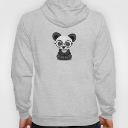Cute Panda Bear Cub with Eye Glasses on Teal Blue Hoody