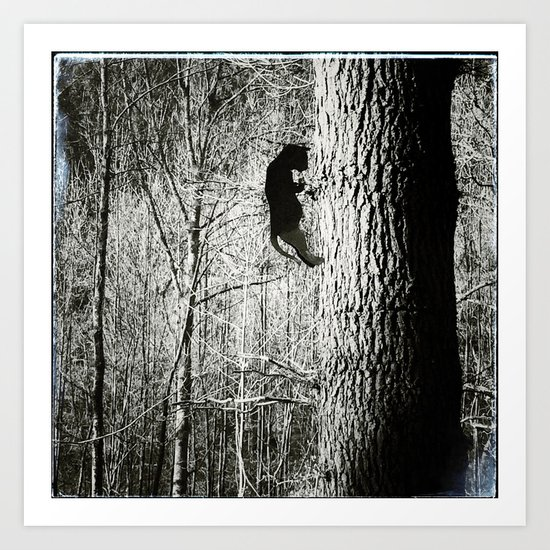 tin cat on tree Art Print