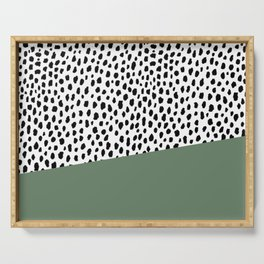 Dalmatian Spots with Sage Green Stripe Serving Tray
