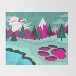 Monster Cat in the Mountains Throw Blanket