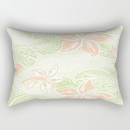 Coral Hibiscus Jungle Print Rectangular Pillow