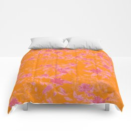 Floral trio tone photograph with orange and pinks Comforters
