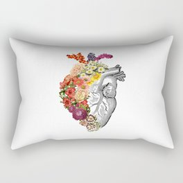 Flower Heart Spring White Rectangular Pillow