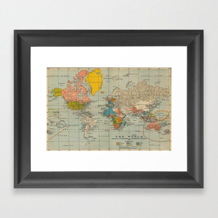 Vintage world map Gerahmter Kunstdruck
