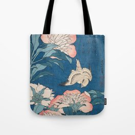 Katsushika Hokusai - Peonies and Canary, 1834 Tote Bag